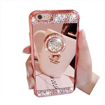 Cover iPhone 7, iPhone 7 Case Cover, Bonice Diamond Glitter Luxury Crystal Rhinestone Soft Rubber Bumper Bling Mirror Makeup Case with Ring Stand Holder for iPhone 7 4.7 inch - Rose Gold