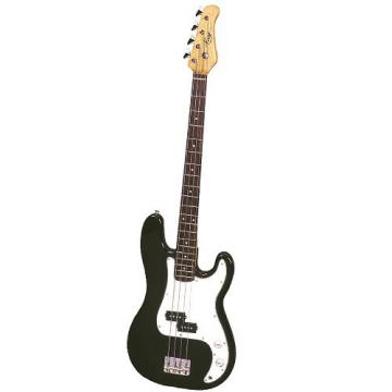 It's All About the Bass Pack-Black Kay Electric Bass Guitar Medium Scale w/Snark Touch Screen Metronome (White Deco)