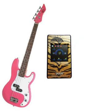 It's All About the Bass Pack-Pink Kay Electric Bass Guitar Medium Scale w/Snark Touch Screen Metronome (Tiger)