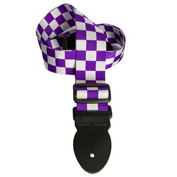 LeatherGraft Print Pattern Checkered Squares Style Electric Acoustic Bass Guitar Strap