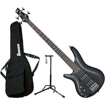 Ibanez SR300EL IPT LEFT HANDED 4 String Iron Pewter Electric Bass Guitar with Gig Bag and Stand