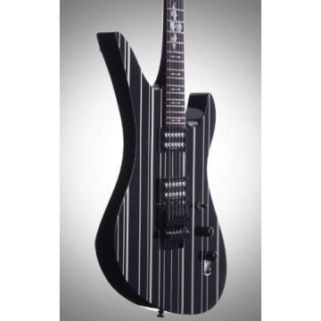Schecter Synyster Custom Electric 6 String Guitar - Black w/Silver Pin Stripes