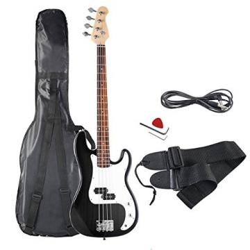 Black Full Size 4 String Electric Bass Guitar with Strap Guitar Bag Amp Cord Higher Performance Cost Ratio With Better Tones And Feels