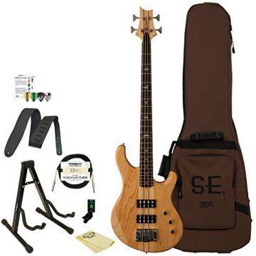 GoDpsMusic KR4NA PRS SE Kingfisher Bass Guitar Natural with Gig Bag, ChromaCast Stand, Tuner, Cable, Picks, Strap and Cloth