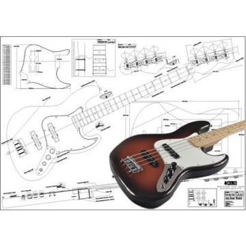 Plan of Fender Jazz Bass 4 String - Full Scale Print