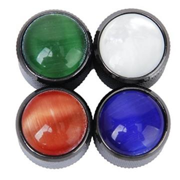 3pcs Domed Volume Tone Control Knob for Electric Guitar- Black with White Top