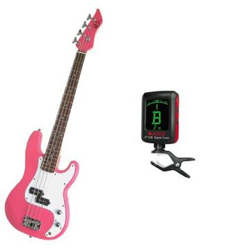 It's All About the Bass Pack-Pink Kay Electric Bass Guitar Medium Scale w/Meisel COM-80 Tuner